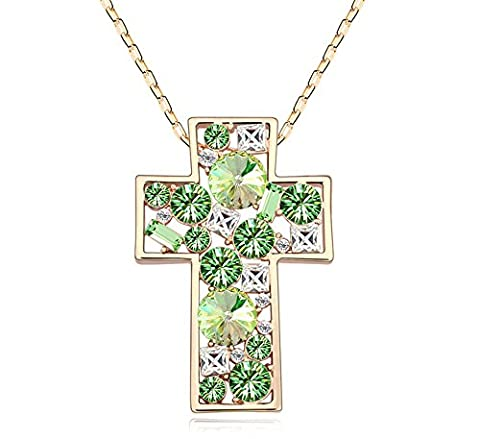 ufengke® Austrian Crystal Fashion Cross Pendant Necklace Long Chain Gold Pated Women Girls Gift,