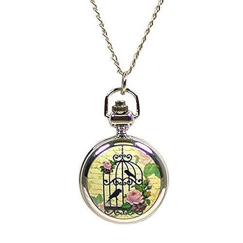 Wrapables Vintage Ceramic Quartz Locket Watch Necklace, Pink Rose Bird Cage