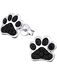 Paw Print Earrings - Sterling Silver with Black Crystal Stones