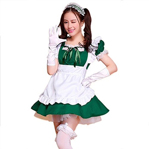Preisvergleich Produktbild Cute Lolita Anime Cosplay Maid Costumes ( Dress + Apron + Hair accessories + Bowknot lace white socks ) color - green , Size - XL