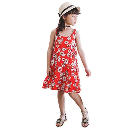 Mitlfuny Maedchen Audrey 1950er Vintage Hepburn Kleid Prinzessin Ballett Tutu Rock Party,Kinder Kinder Mädchen Prinzessin Belle Print ärmellose Kleider Kostüm (Cherry Girl Kostüme)