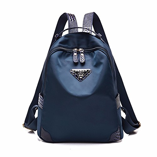 Nylon Backpack bag student Double Shoulder Bag Lady mama Oxford tuch Freizeit Umhängetasche Blau