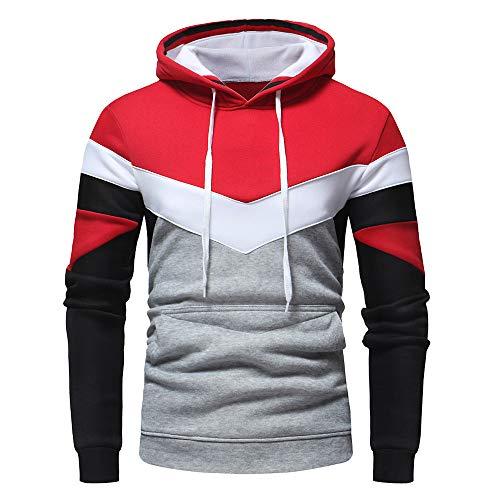ESAILQ Herren Herbst-beiläufiges Patchwork-langes Hülsen-Hoodie-Sweatshirt Top Outwear(X-Large,Rot)