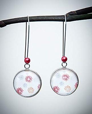 Boucles d'oreilles pendantes blanches, fleur rouge gris doré, style bohème, longues dormeuses acier inoxydable argent