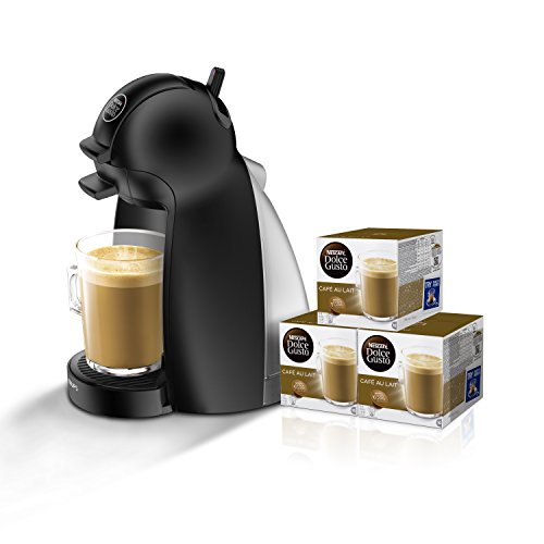 Pack Krups Dolce Gusto Piccolo KP1000 -  Cafetera de cápsulas, 15 bares de presión, color negro mate + 3 packs de café Dolce Gusto Con Leche