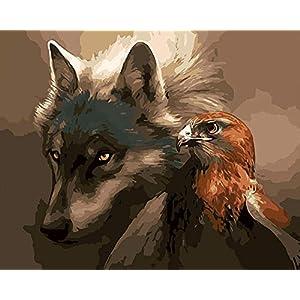 Lucellgh DIY Malen Nach Zahlen Wolf Und Adler by Numbers Europa Abstrakte Leinwand Malerei Für Wohnzimmer Wandkunst Wohnkultur