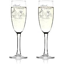 Juego de 2 copas de champán (Incluye grabado Diseño ...