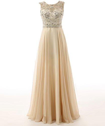 Changjie Damen Luxury Kristall Perlen Lange Abiballkleid Abendkleider A-Linie Chiffon Formal Gown