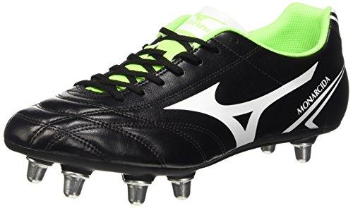 Mizuno Monarcida Rugby Si- Scarpe da rugby Uomo, Black (Black/White/Green Gecko), 44 EU (9.5 UK)