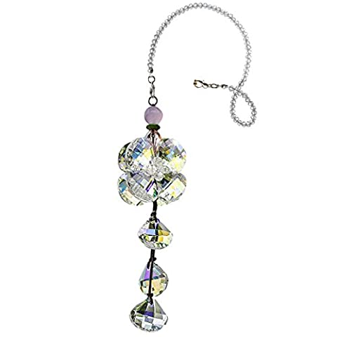 H&D Colorful Crystal Flower Car Pendant Lucky Hanging Ornament Interior Decor Accessories