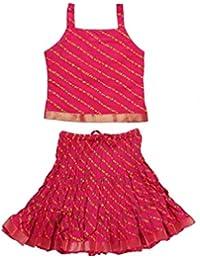 Jaipuri Rajasthani Baby Girl Leheraiya Skirt Top Lehenga Choli Gagra Choli Kurti Set