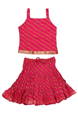 Jaipur Kala Kendra Girls' Cotton Ethnic Wear (Kdlhr_Pnk-Ag1-Sz8_Pink_Age - 6 To 12...