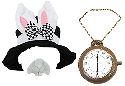 WONDERLAND RABBIT FANCY DRESS ACCESSORY SET BLACK TOP HAT WITH BUNNY EARS + JUMBO INFLATABLE CLOCK + RABBIT NOSE KIT