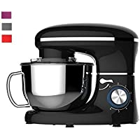 Heska -1500W Food Stand Mixer - 4-in-1 Beater/Whisk / Dough Hook/Flex Edge Beater - 5.5 Litre Mixing Bowl with Splash Guard (Black)