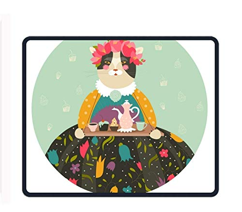 ASKSSD Cute Cat with Teapot 8.66 X 7.09 Inch Computer Mouse Pad with Neoprene Backing and Jersey Surface -