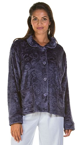 Damen Zip Up Soft Feel Fleece Geprägte Morgenmantel , Reißverschluss Robe 6623 Navy - Bed Jacket