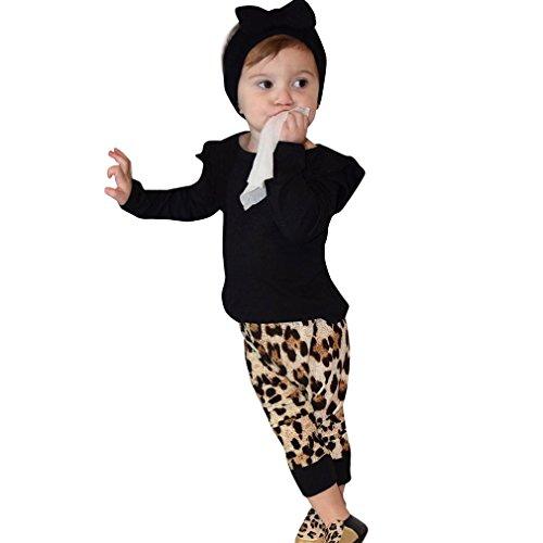 Produktbild Kleidung Set Mädchen Von Xinan Leopard Langarm Tops+Hose Outfits Newborn Infant Clothes (100,  Schwarz)