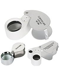 TRIXES Set de 3 loupes de bijoutier lentilles 30, 40, double 30/60 avec éclairage LED