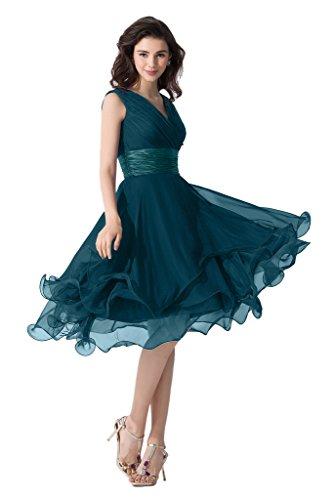 Victory Bridal Einfach Tief V Ausschnitt Abendkleider Ballkleider  Brautjungfernkleider kurzes Chiffon-32 Dunkel Blau ab3bbdcf33