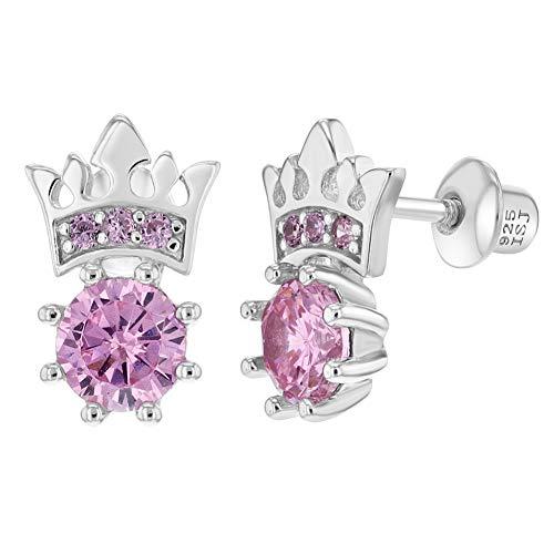 In Season Jewelry Mädchen Teens - Schraubverschluss Ohrringe Prinzessin Krone 925 Sterling Silber Rosa CZ Zirkonia (Silber Ohrringe Screwback)
