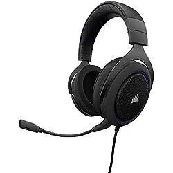 Corsair HS50 Stereo - Auriculares gaming con micrófono desmontable (para PC/PS4/Xbox/Switch/móvil), azul