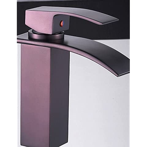 LONG-Olio strofinato bronzo bagno rubinetto cascata Sink
