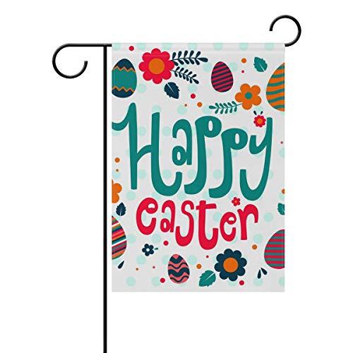(Buyxbn Happy Osterei Blume Garten Flagge doppelseitig Haus Hof Indoor Outdoor Seasonal Dekoration, Frühling, 28
