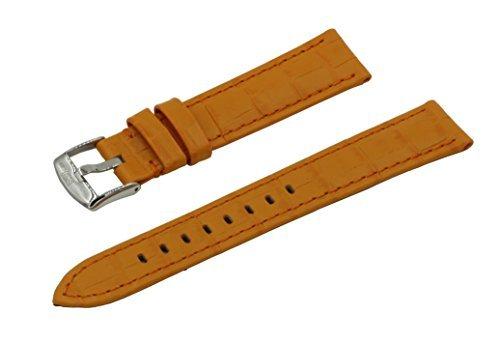 Lederband für Armbanduhr, Krokodilleder, gepolstert, italienisches Kalbsleder, Lederband mit klassischer Schnalle aus poliertem Edelstahl Gr. 19 mm, Orange