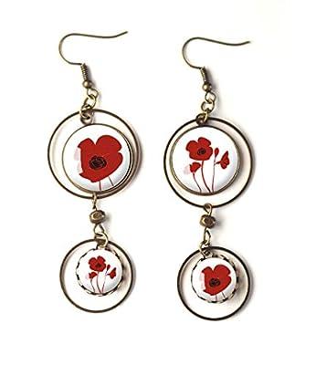 Boucles d'oreilles cabochons, Coquelicots rouge, fleurs, rouge et blanc, inspiration florale