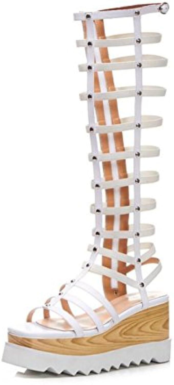 8cc97e9df9d05d DANDANJIE Women s Shoes Leatherette Summer Summer Summer Sexy Sandals Wedge  Heel Hollow High Boots for Casual Outdoor White... B07D4GMXLJ Parent 3b348c