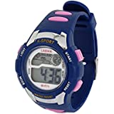 Lady Plastic Band Water Resistant Alarm Sports Electronic Watch Purple