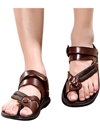 Youlee Herren Leder Flip Flops Slip on Sandalen für den Sommer Style 1 Braun