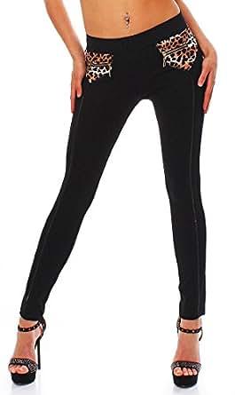 10551 Fashion4Young Damen Treggings Leggings Hose Stretch-Stoff-Mix verfügbar in 5 Gr. Schwarz leo (S=36, Schwarz)