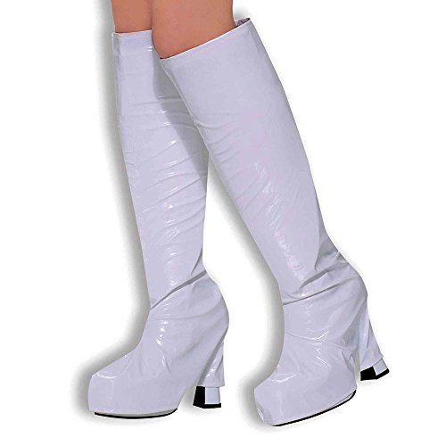 WHITE BOOT shoe COVERS tops platform 60 70s HIPPY retro (disfraz)