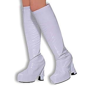 White BOOT shoe COVERS tops platform 60 70s HIPPY retro (disfraz)