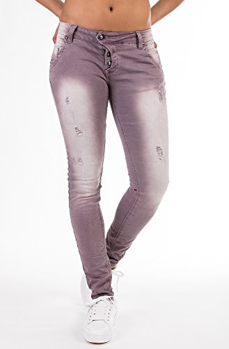 BLUE MONKEY Skinny Jeans runtergewaschen mit Rissen Manie 8007 Damen Skinny Fit Casualmode 1001330 Lila