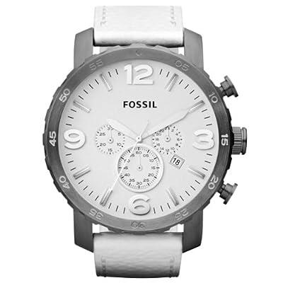 Fossil JR1423 de cuarzo para hombre con correa de piel, color blanco