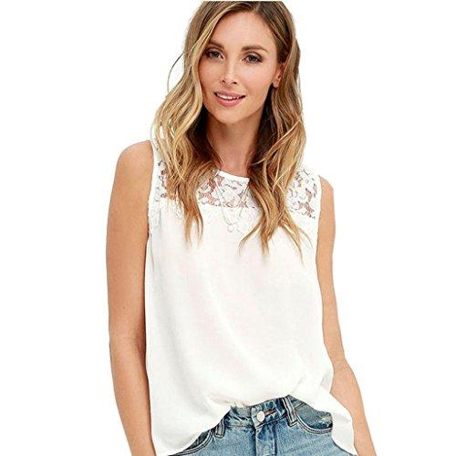 Rcool Mujeres de Gasa de Encaje Sin Mangas Blusa de la Camisa de Camisetas (L, Blanco)
