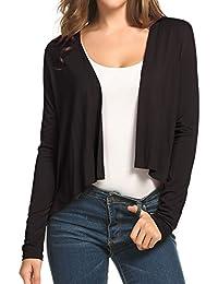 17488d1abf15f Meaneor Womens Open Front Shrug Short Sleeve Evening Cardigan Bolero Blouse  Crop Top