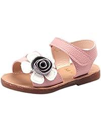 Topgrowth Sandali per Bambina Eleganti Sandali Punta Aperta Sandali Romani Ragazze Velcro Sandali Bimba Partito Principessa Scarpe (28, Rosa Caldo)