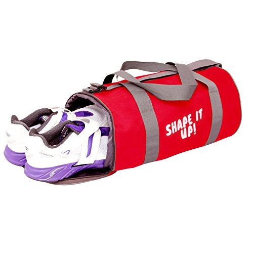 TRIAGE Gym Bag (RED) Carry On Sports Travel Duffel Bags with Shoulder Strap, Zippered Shoe Compartment