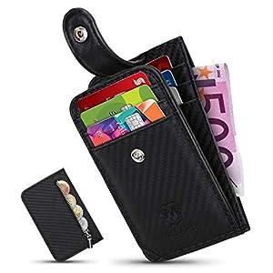Mirakle Portafoglio Uomo Piccolo Sottile, Porta Carte Di Credit con Portamonete, Nero Mini fibra di carbonio Portafoglio… 4 spesavip