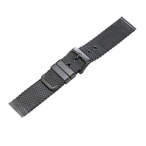 22mm lucido cinturini per orologi di alta qualità maglia nera in metallo per gli uomini misura regolabile fibbia ad ardiglione