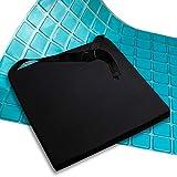 AIESI Cuscino Antidecubito Professionale (Certificato) Memory in poliuretano espanso con cuscinetto interno in gel e cinghia cm 44x44x5h - Cuscino Ortopedico per Auto Sedia da ufficio Carrozzina