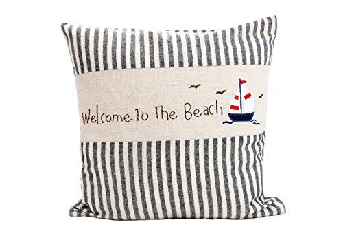 Kissenbezug Arndt 40x40cm Kissenhülle maritim Segelboot vintage Sommer Streifen grau weiß gestreift Leinen Leinenoptik Dekokissen