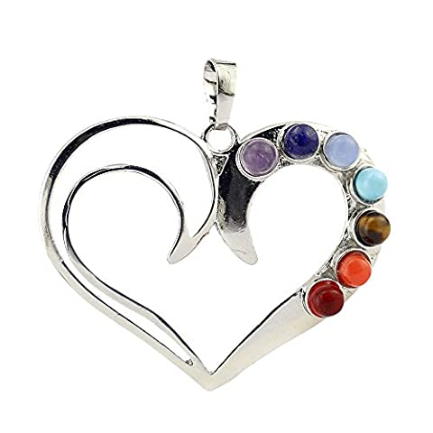 Contever® 7 Beads Chakra Charm Stone Heart Form Pendant for