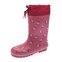 Hello Kitty Girls Tie Top Rubber Wellington Boots