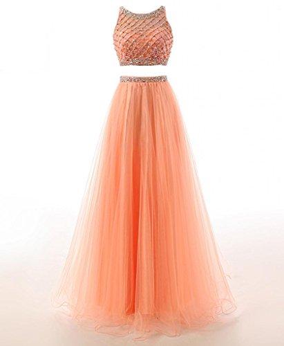 Changjie Damen Zwei St¨¹ck Kristall Perlen Lange Abiballkleid Tulle Abendkleider Formal Gown