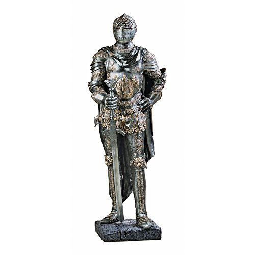 Design Toscano Die Wache des Königs mittelalterliches Dekor Ritterrüstung Gothic Statue, Polyresin, Zinn, 99 cm (Mittelalterlicher König Kostüm)