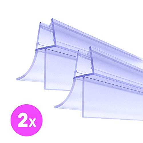 Premium Duschtür Dichtung 2 x 100 cm - Mit verlängerten Gummilippen für trockenen Boden im Bad - Glastür Duschdichtung für 6mm, 7mm, 8mm Glasdicke - Duschleiste für Duschkabine mit Wasserabweiser -